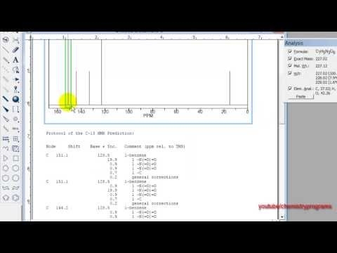 ChemDraw tutorial 20 1H NMR Shifts and C 13 - YouTube
