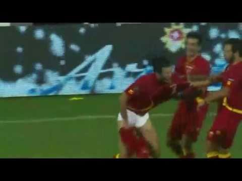 Mirko Vučinić celebrates goal by ripping pants off