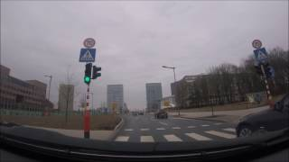 Driving on the avenue JF Kennedy, Luxembourg-City (February 2017)
