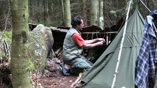 4 Days Bushcraft in the Forest with a Canvas Tent and a Wool Blanket [Documentary]