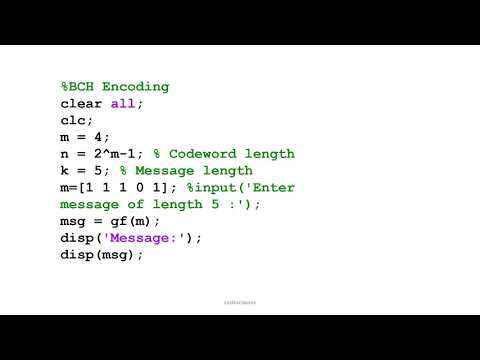 MATLAB simulation of BCH code and decode m file