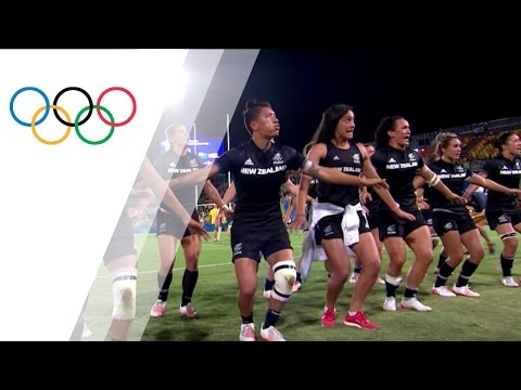 New Zealand rugby sevens team performs ceremonial Haka