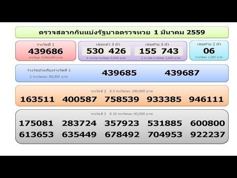 ใบตรวจหวย ตรวจสลากกินแบ่งรัฐบาล วันที่ 1 มีนาคม 2559 Lotto