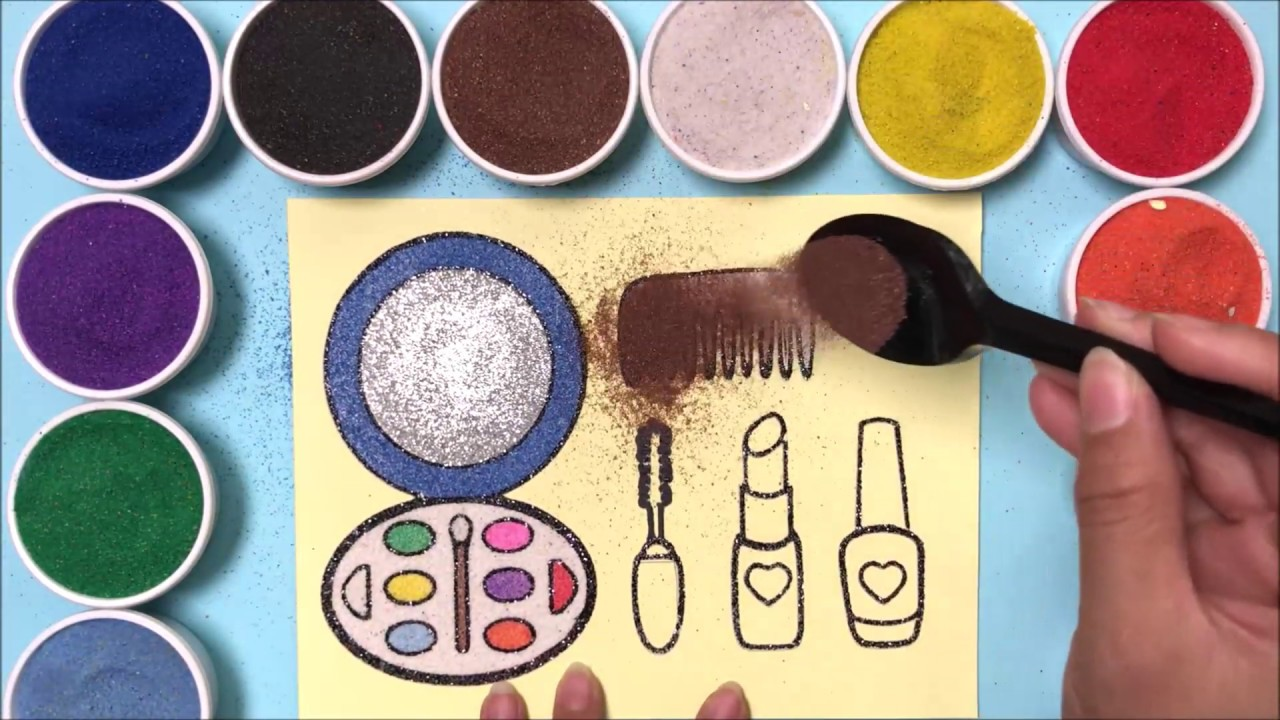 Colors Sand Painting Make Up Set How To Coloring Lipstick Powder Mascara Comb Sand Art Youtube