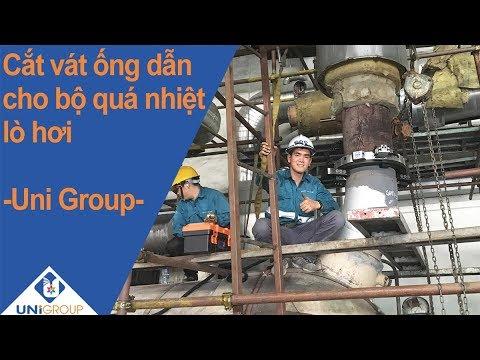 Cắt vát ống của bộ quá nhiệt tại nhà máy nhiệt điện