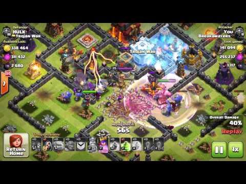 coc clash of clans TH10 Bowler attack, new dark troop attack, max valk