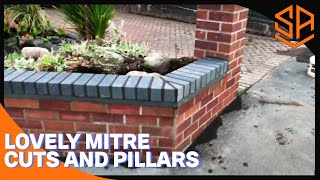 GARDEN WALL PART 2 ...BRICKWORK, PILLARS AND BRICK ON EDGE INC MITRE CUTS
