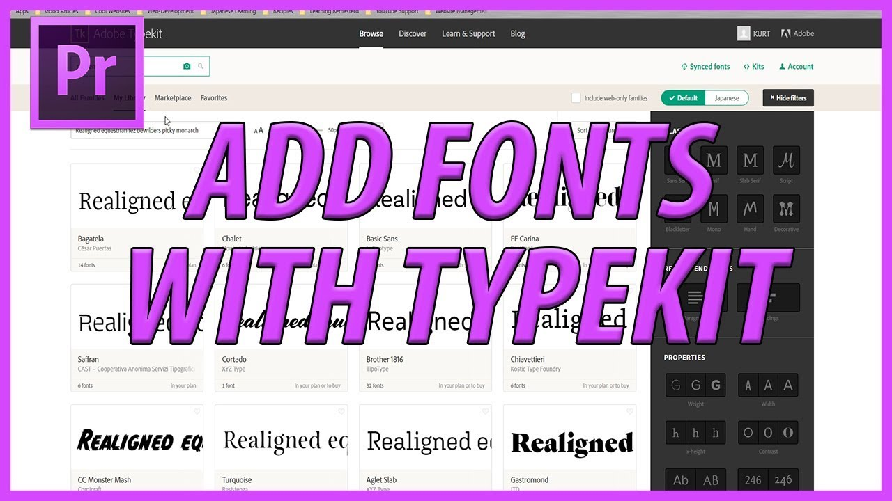 How to Add Fonts using Typekit in Adobe Premiere Pro CC (2018)