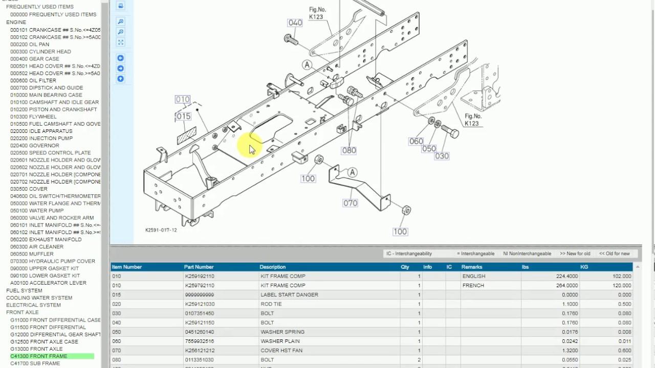 How to use the Kubota online Electronic Parts Catalog, EPC