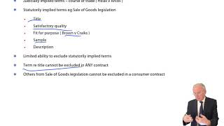 Contractual Terms, Unfair Terms Legislation - ACCA Corporate and Business Law (LW) (ENG)