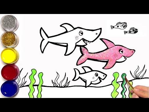 핑크퐁 아기상어 그리기 상어가족 영어노래 Drawing a pink pong baby shark   Shark Family English Song    마법그림