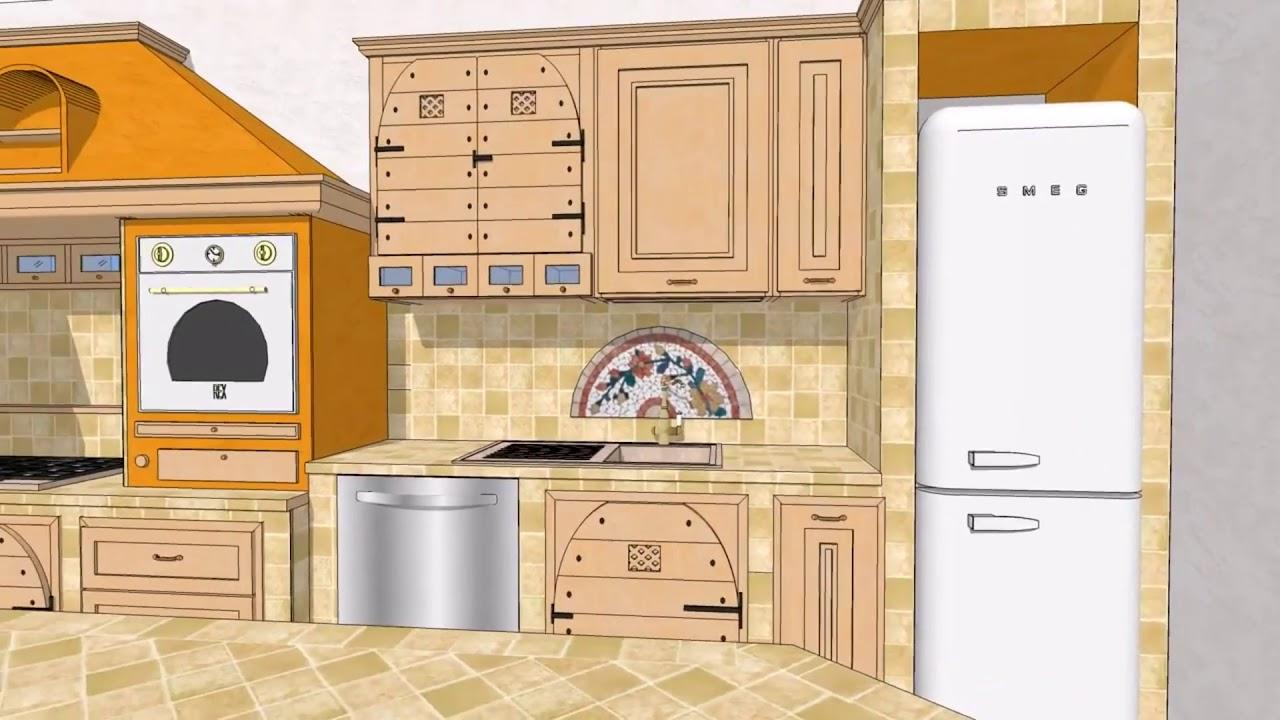 Progetto #04 Cucina in castagno naturale finta muratura piastrellata ...