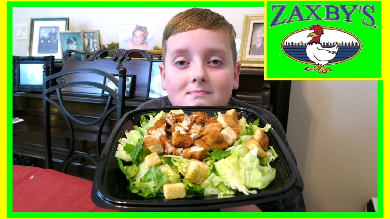 Zaxby S Caesar Salad With Fried Chicken Mukbang The Barkers Youtube