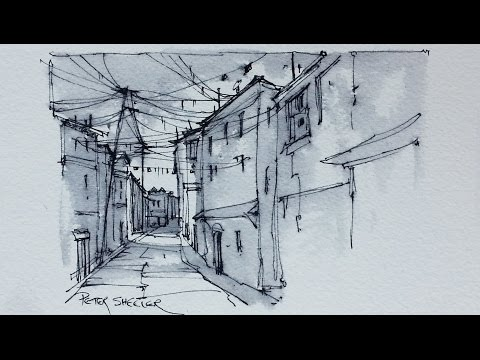 An Alley Sketch using Water Soluble Ink with Fountain Pen and Water Brush.