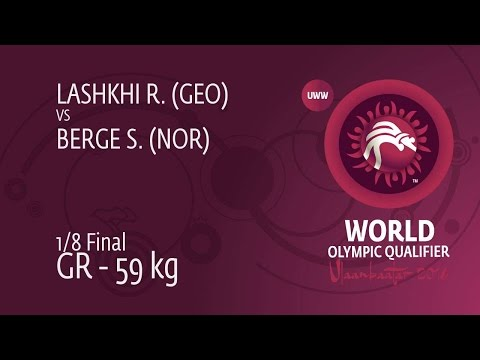 1/8 GR - 59 kg: S. BERGE (NOR) df. R. LASHKHI (GEO) by FALL, 6-2