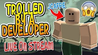 DUNGEON QUEST CREATOR TROLLED ME DURING LIVE STREAM ON DUNGEON QUEST!! (Roblox)