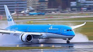 Reverse thrust, JUST AMAZING on a wet runway, A380, B747, B777, B787, A330