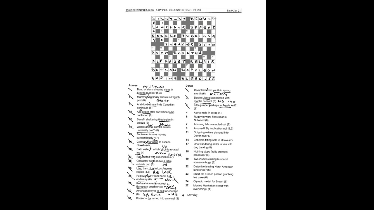 Daily Telegraph Prize Crossword 29 568 Walkthrough Sat 9th Jan 2021 Youtube