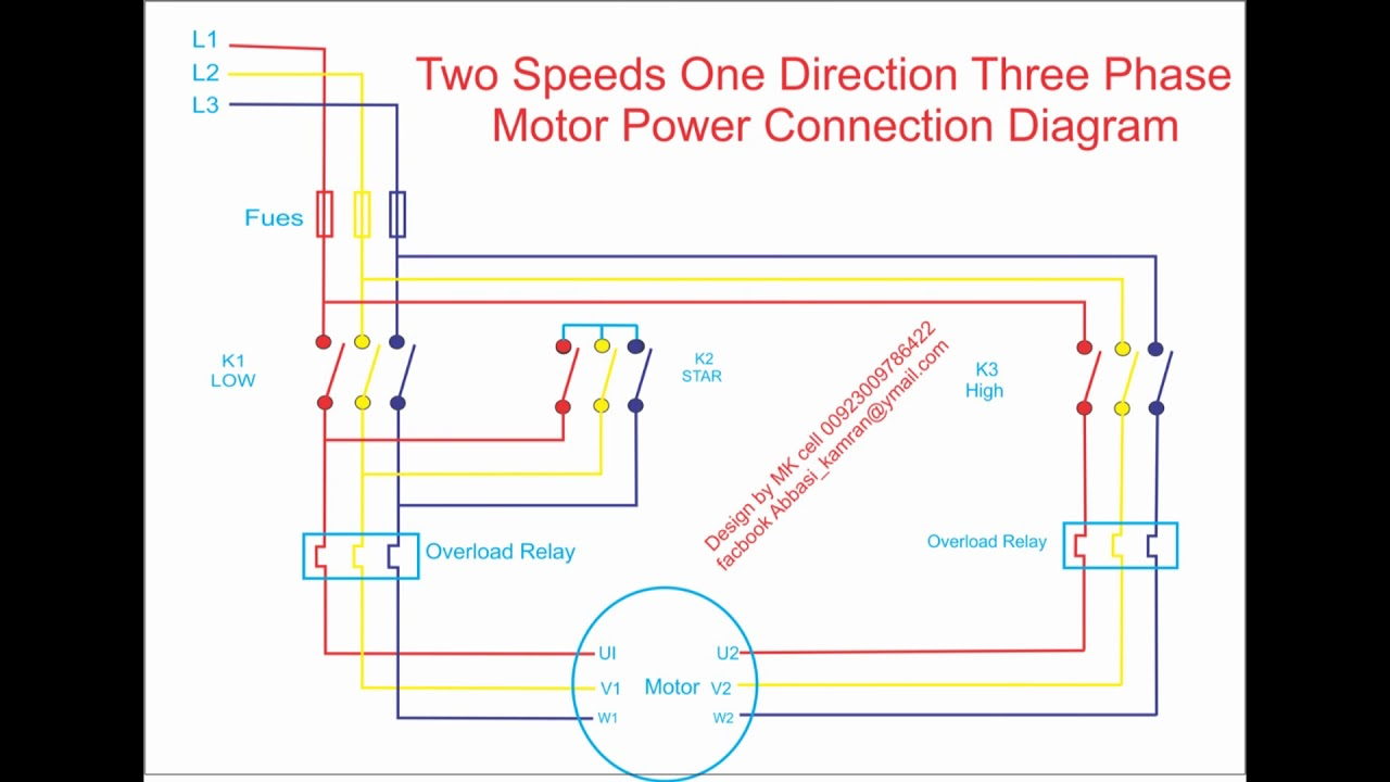 two speeds one direction three phase motor power connection diagram rh youtube com dual speed 3 phase motor wiring diagram two speed 3 phase motor wiring diagram