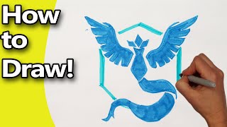 How to Draw Pokemon Go Team Mystic Emblem Logo Step by Step