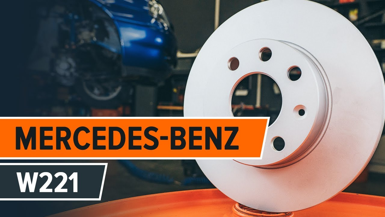 How to replace front brake discs and front brake pads on MERCEDES-BENZ S  W221 TUTORIAL | AUTODOC