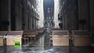 El interior de la catedral de Notre Dame después del incendio