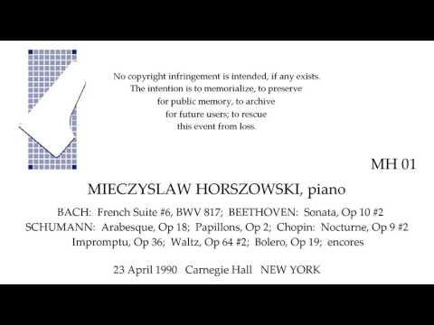 MIECZYSLAW HORSZOWSKI Recital 23 April 1990 Carnegie Hall NEW YORK
