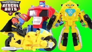 Transformers Rescue Bots Bumblebee Motorcycle has an Adventure with Batman,  Robin & Optimus Prime!