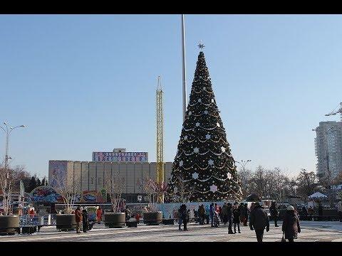 Нарядная красивая ёлка в городе Ижевск.
