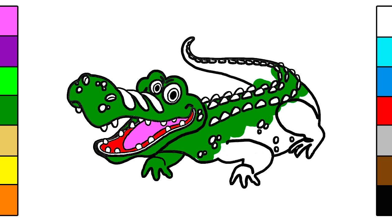 How to Draw Big Crocodile - Coloring Book for Kids - YouTube