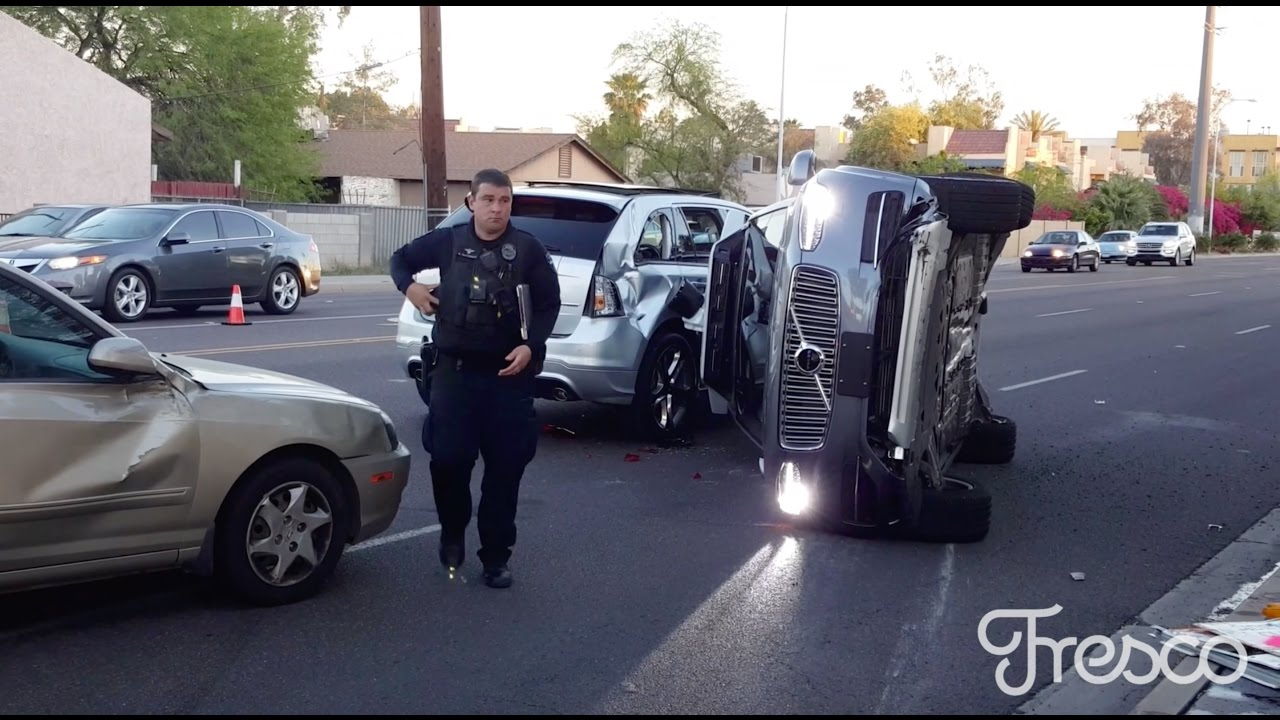 breaking self driving uber vehicle on its side after a collision in tempe az youtube. Black Bedroom Furniture Sets. Home Design Ideas
