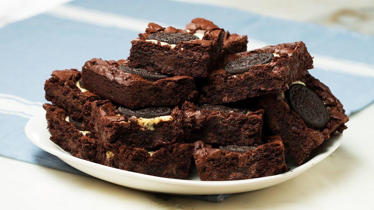 Chocolate Cookie Cheesecake-Stuffed Brownies