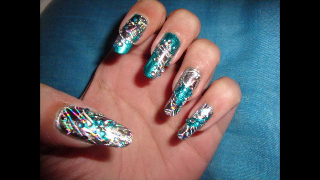 Foil teal nail design youtube prinsesfo Images
