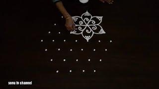 7 Dots rangoli ||Friday rangoli ||beginners rangoli ||simple rangoli ||rangoli with dots||