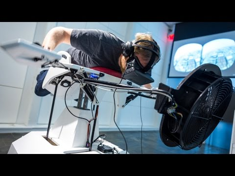 Flying the Birdly Virtual Reality Simulator