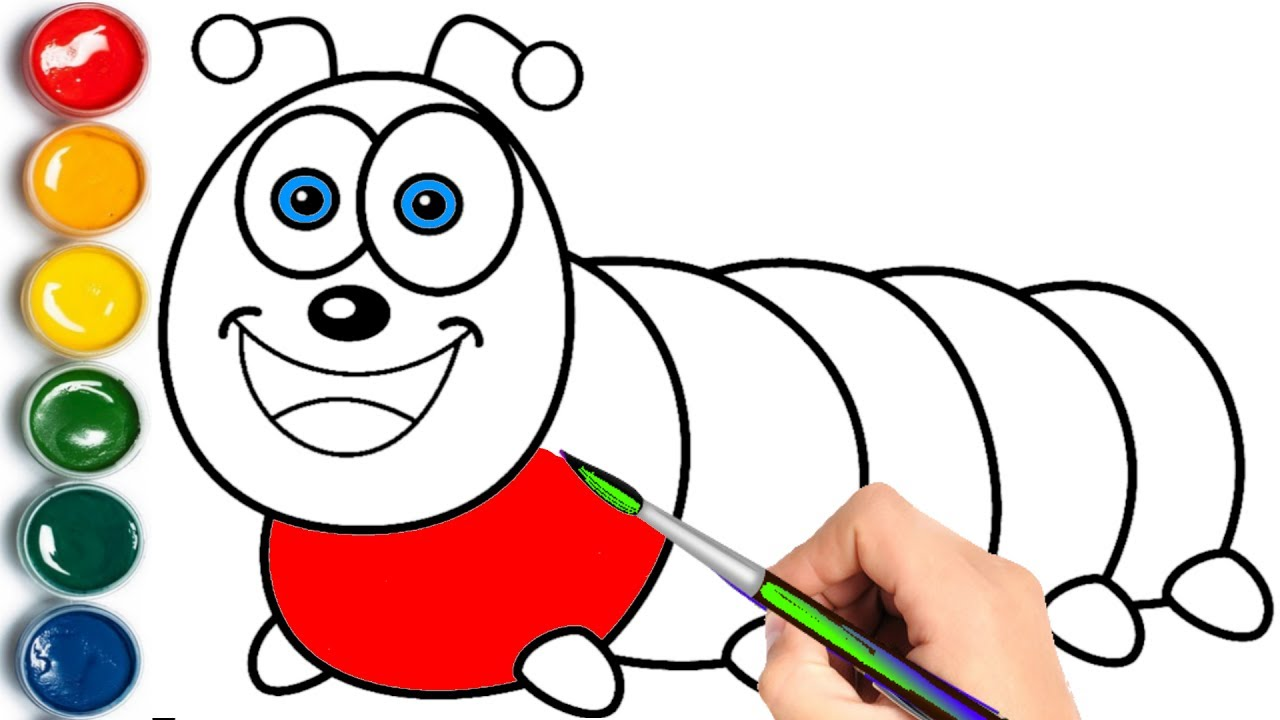 Caterpillar Coloring Pages Learn Colors for Children YouTube