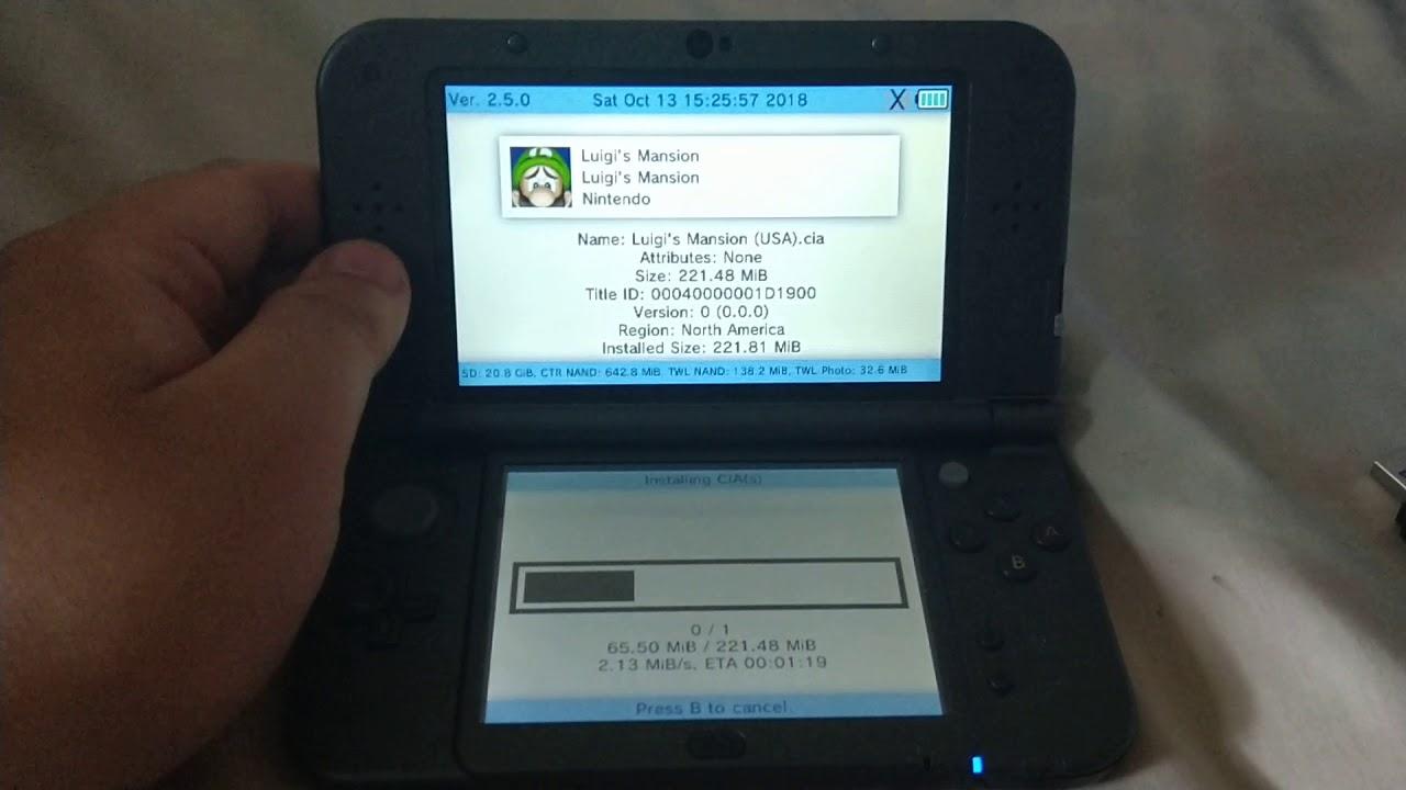 Installing Luigi Mansion 3DS cia on Nintendo 3ds xl using FBI || RIP  FreeShop