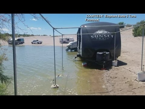 High water levels at Elephant Butte leave some RVs in the water