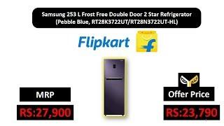 Samsung 253 L Frost Free Double Door 2 Star Refrigerator  (Pebble Blue, RT28K3722UT/RT28N3722UT-HL)