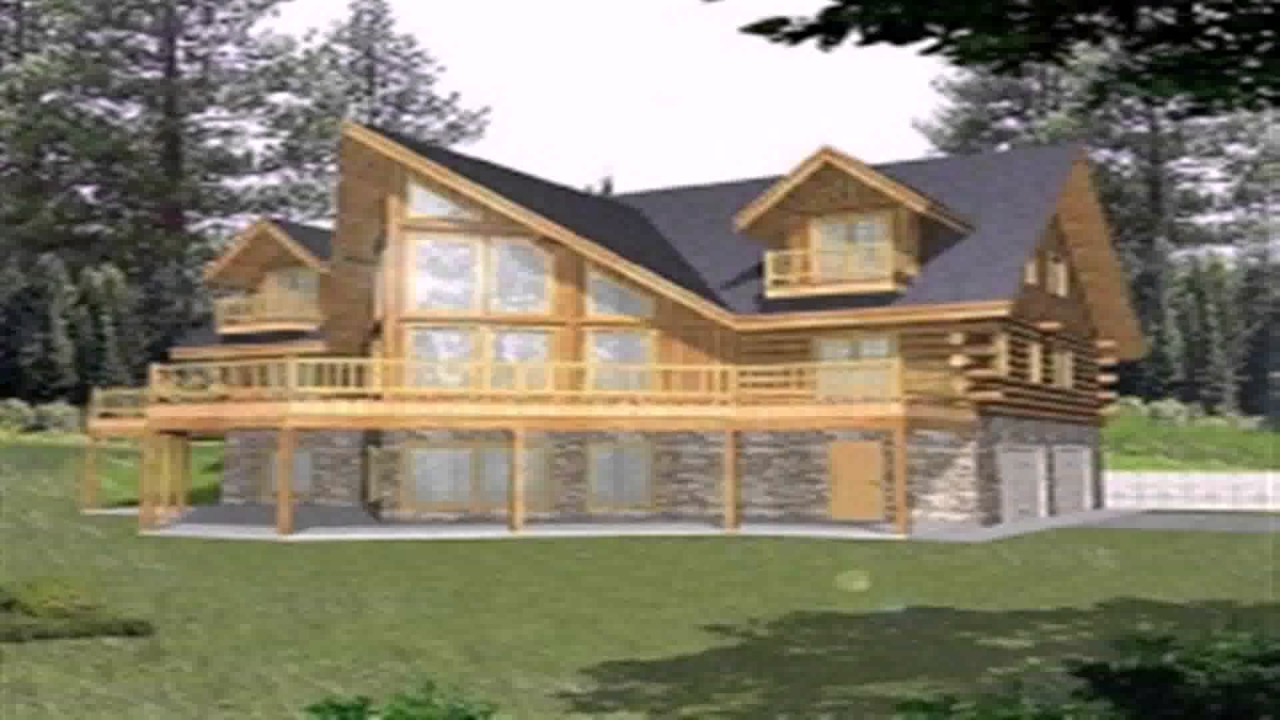 Log cabin floor plans with walkout basement youtube for House plans with daylight walkout basement