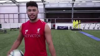 Oxlade-Chamberlain takes on the crossbar challenge with his weaker foot