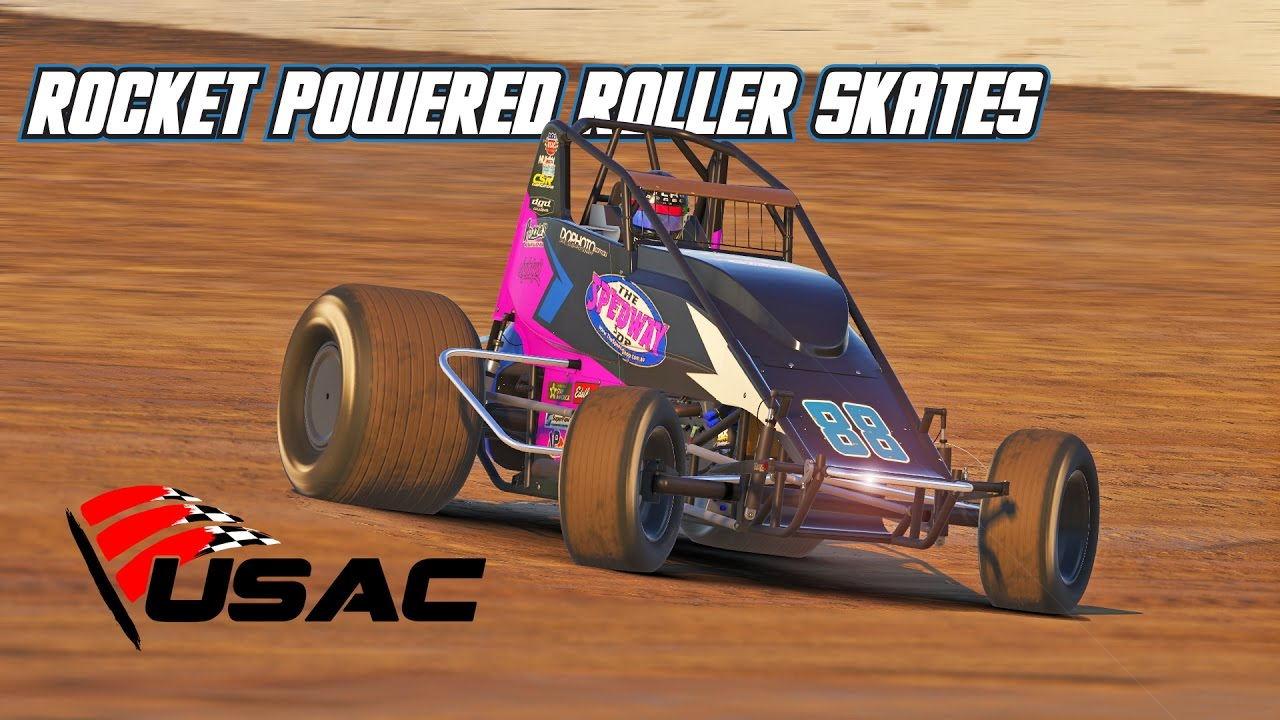 Iracing Rocket Powered Roller Skates Wingless Sprintcar Eldora