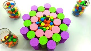 DIY How To Make Kinetic Sand Cake Rainbow Ice Cream Candy Balls  Learn Colors M&M For Kids