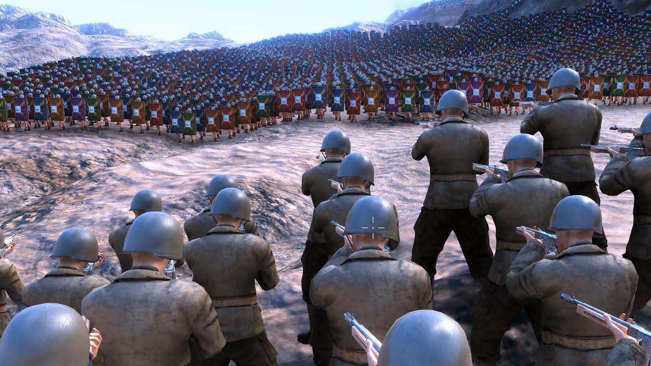10 000 WW2 U S  SOLDIERS vs 50 000 ROMANS - Ultimate Epic Battle Simulator