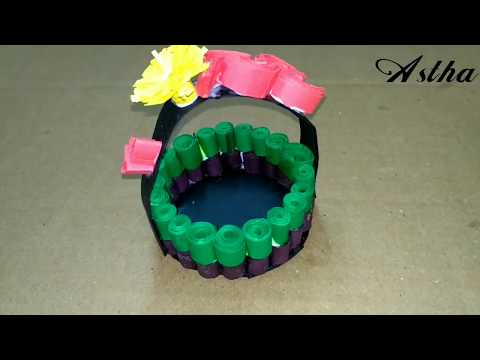 Paper Quilling Basket/ Green & Brown Paper Strip Basket !! How To Make / Quilling Round Gift Box