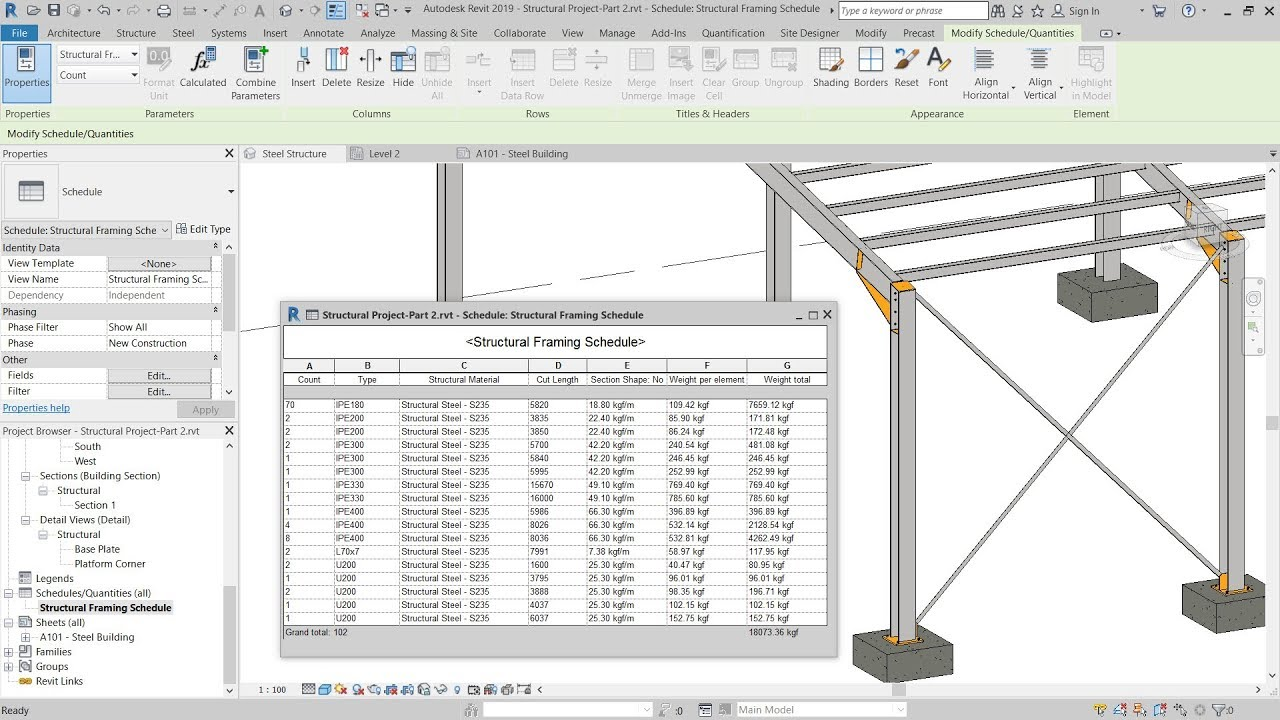 9 - Revit 2019 – Structural Framing Schedule - YouTube