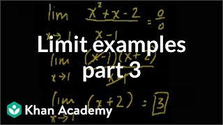 Limit examples (part 3) | Limits | Differential Calculus | Khan Academy
