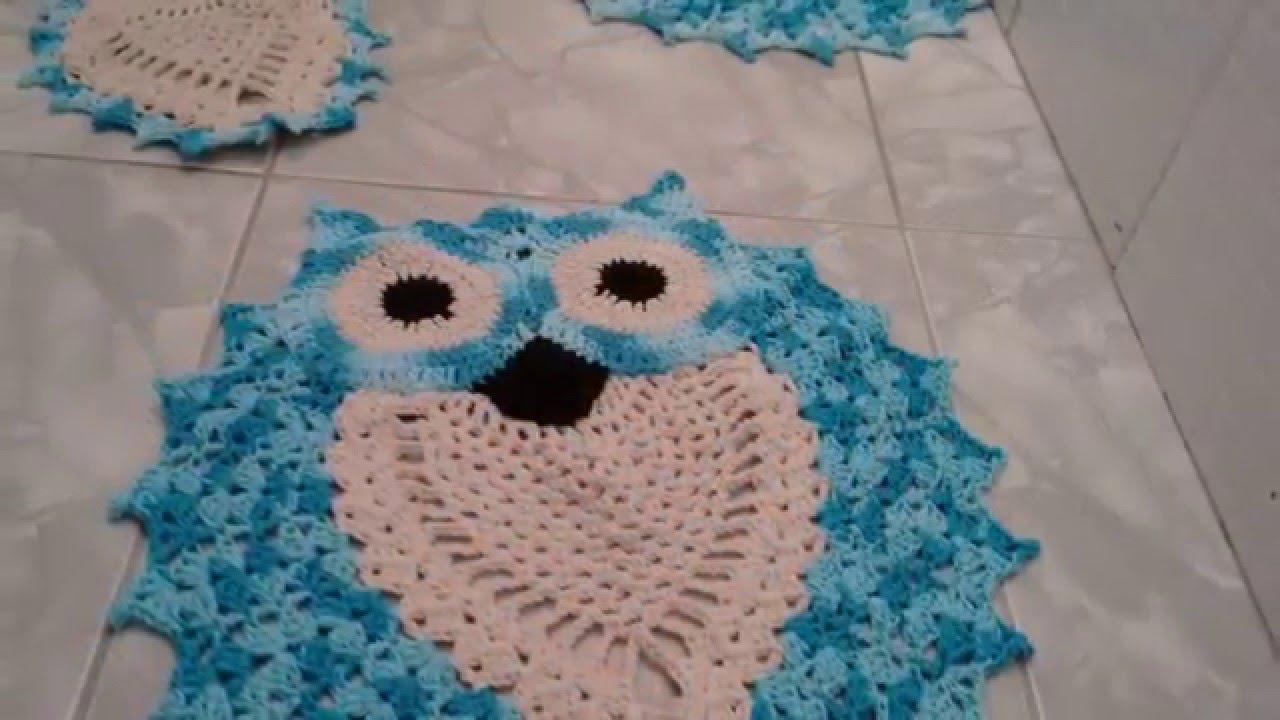 Jogo Banheiro Azul Croche : Jogo de banheiro coruja acordada azul mesclado cr?che