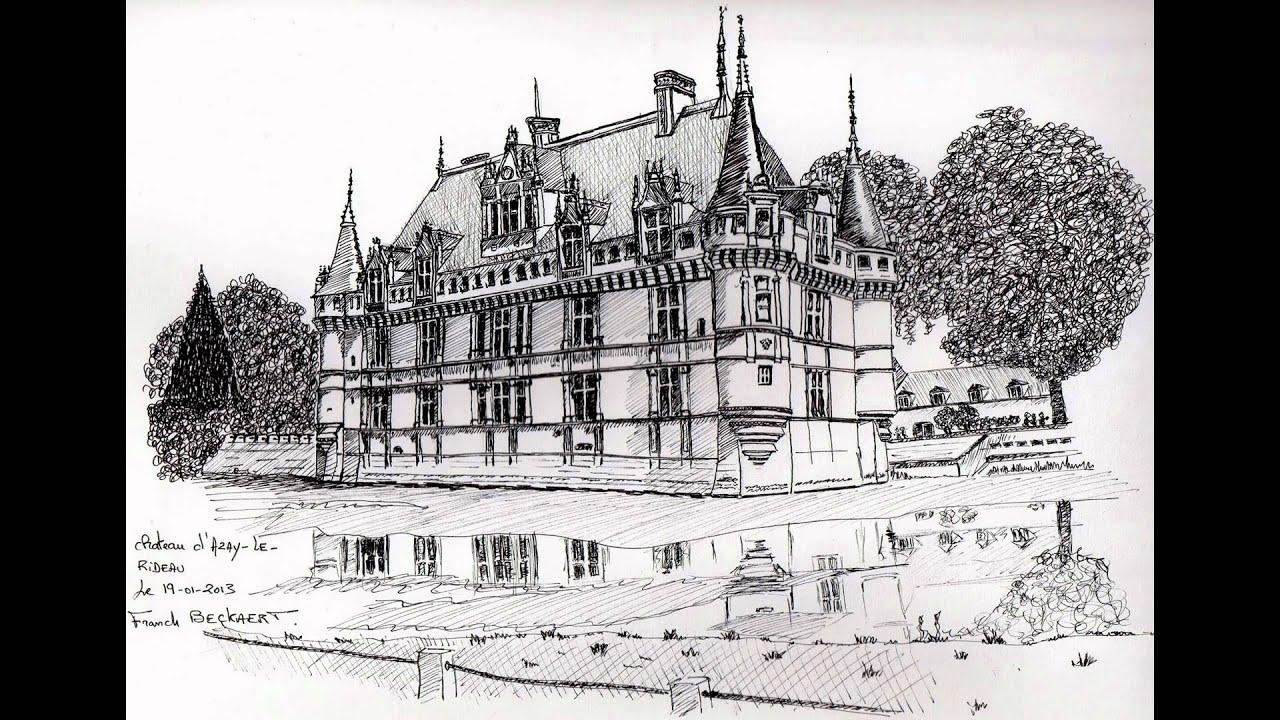 Franck beckaert dessin crayon stylo encre chateaux - Dessin de chateau ...