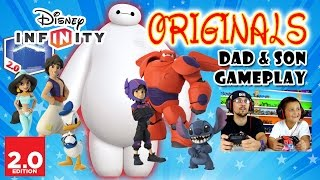 Dad & Son Play Disney Infinity 2.0 Originals - Big Hero 6: Baymax & Hiro, Donald Duck Stitch Aladdin